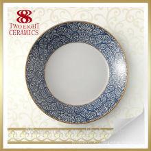 Plaque de dîner en gros de porcelaine d'os, dessins de peinture de plaque en céramique