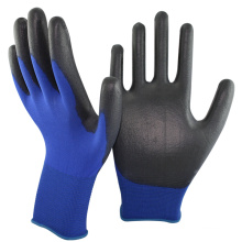 NMSAFETY 18 gauge dark blue nylon liner pu coated gloves