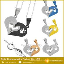 Amour amis en forme de coeur double collier pendentif Charms chirurgical bijoux en acier pendentif