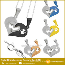 Amor de amigos em forma de coração colar duplo pingente encantos jóias de aço cirúrgico pingente