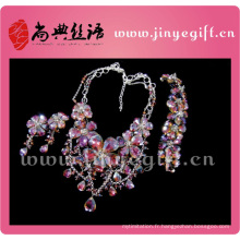 Ensemble de collier de diamant brillant magnifique magnifique de bijoux de mode