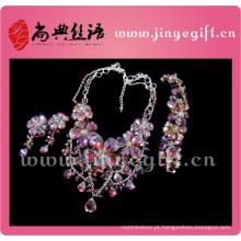 Moda jóias encantador lindo brilhante pesado diamante conjunto de colar