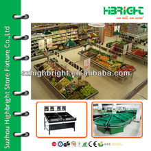 hypermarket fruits vegetables display shelves