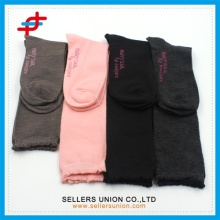Custom Women Girl Cotton Knit Knee High Socks with Solid Color