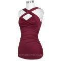 Belle Poque sin mangas cruzado frente Sweetheart clásico rojo vino tinto camisetas sin mangas BP000342-1