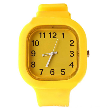 Pure Color Silicone Watch Square Kids Waterproof