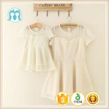 2016 neue cremige Mode lässig Sommer Frau Kleid Kinder Guangzhou Fabrik Kleidung für Erwachsene und Kinder mit günstigen Preis