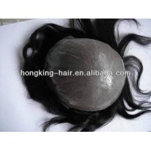 Quente! Peruca de cabelo remy humano brasileiro do Virgin para a recolocação do cabelo dos homens
