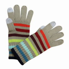 Lady Fashion Striped Knitted Touch Screen Winter Gloves (YKY5428)