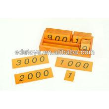 Materiales Montessori Pequeñas tarjetas de madera con caja (1-3000)