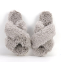 Fashion Cross Band Indoor Fluffy Rabbit Fur Slippers