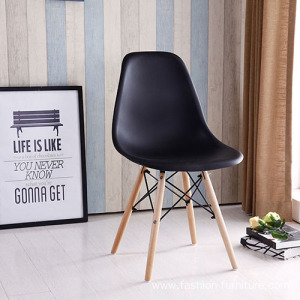 Wooden legs design dining chair in plastic