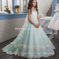 Nouvelle mode fée western partie porter bébé fille robe heavey perlé dentelle fleur fille robe modèles gratuits pour la performance