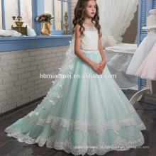 New fashion fairy ocidental desgaste do partido vestido de menina do bebê heavey frisado atado vestido de flores da menina padrões livres para o desempenho