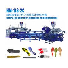Spritzgießmaschine zur Herstellung von Sohlenschuhen in zwei Farben