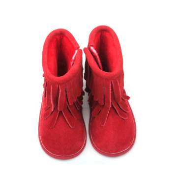 Red Baby Double Tassel Boots Kulit Lembut Panas