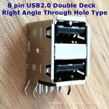 8-Контактный порт USB2.0 Разъем Двойной Палубе Прямым Углом Через Тип Отверстия