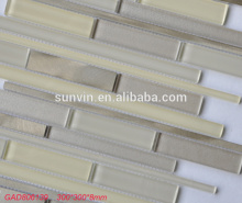 Washing room decorative aluminum mix crystal glass long strip mosaic tile