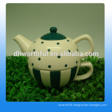 Fashionable style ceramic decorative tea kettles with cup
