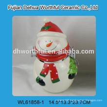 2016 superior ceramic container in snowman shape for promotion