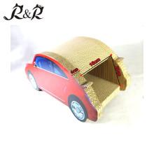 Vente chaude voiture forme chat grattage jouet et nouveau design adorable chat maison CT4046