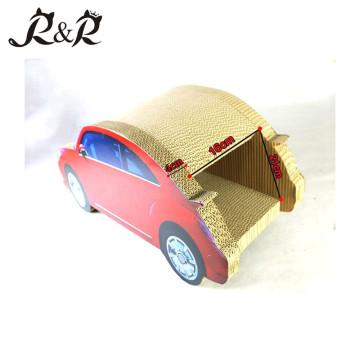 Venda quente carro forma gato arranhando brinquedo e novo design adorável casa gato CT4046
