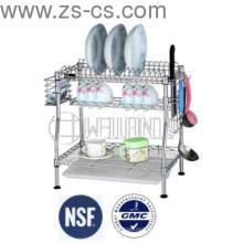 Patentado Adjustable 2-Tiers Chrome cocina Dish Drainer Rack (CJ-C1231)