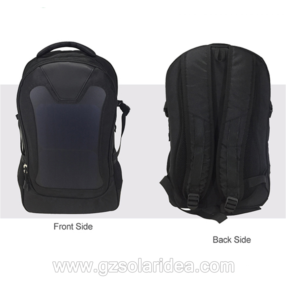 black solar panel backpack