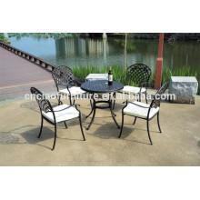 Juego de comedor de bronce muebles de patio de aluminio