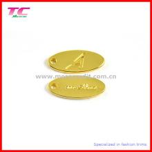 Etiqueta de la joyería del metal del oro de la alta calidad