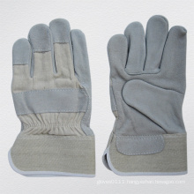 Cow Split Leather Full Plam Work Glove with Cotton Back