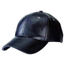 Capuchon de sport en cuir noir et simple avec boucle en métal argenté