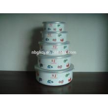 5 conjuntos de tigelas de esmalte com tampas de PE
