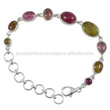Gorgeous Tourmaline piedras preciosas y pulsera de cadena de 925 Sterling Silver Designer para regalo