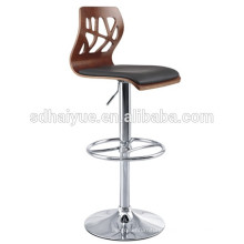 Foshan factory wholesale price high adjustable bar chair bentwood or plywood