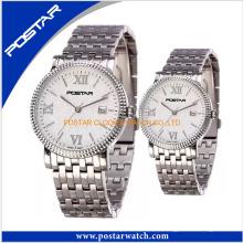 Новый дизайн часы для пары с нержавеющей стальной лентой