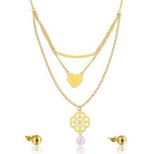Dubai Gold Schmuck Set Herzform geschichteten Halskette Ohrring Set