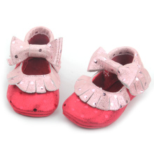 Fancy Baby Girls Rosa Metallic Leather Moccasins
