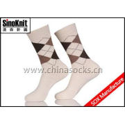 Customized White Argyle Cotton Man Casual Socks / Men Busin