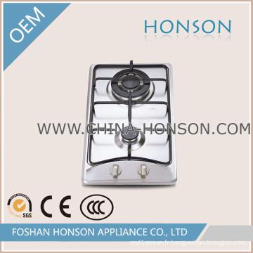 Bon prix cuiseur à gaz construit en acier inoxydable de 2 brûleurs