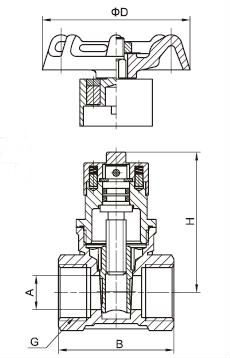 1013 magnetic lockable gate valve drawing