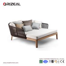 Tumbona de madera al aire libre de la teca con la trenza OZ-OR075