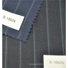 tela de pantalón de lana y poliéster de hilo de color negro para hombre y mujer
