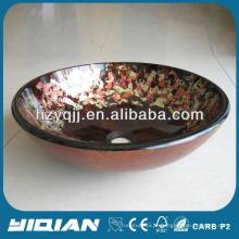Bacia de vidro Produção barata Pintura de flores Bacia de lavatório de bela casa