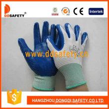 Weißes Nylon mit blauem Nitril-Handschuh-Dnn343