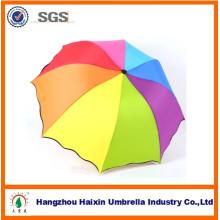 3 pliegue del arco iris Color Logo promoción plegable mejor paraguas de viaje para la boda