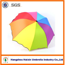 3 pli Rainbow Color Logo Promotion pli meilleur voyage parapluie pour mariage