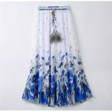2016 mulheres mais atrasadas do projeto imprimiram a saia Bohemian da praia de Chiffon (16701)