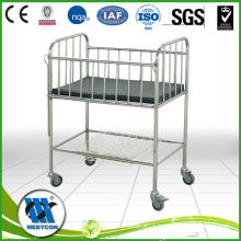 Full Stainless Steel Pediatric Bed With Folding Steel Side Rails