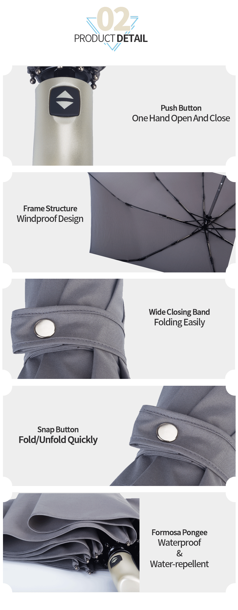 Grey With Pyping Auto Open And Close Folding Umbrella Windproof
